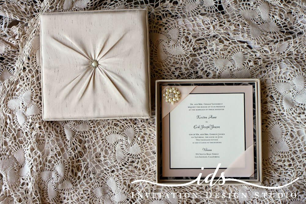 Bella Luxe Fabric Covered Custom Wedding Invitation