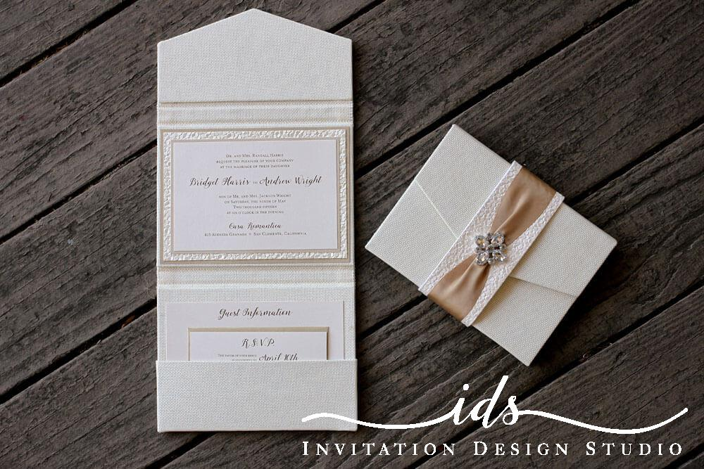 Bella Luxe Fabric Covered Custom Wedding Invitations