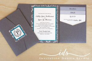 Pocket Folds (portait) Custom Wedding Invitation