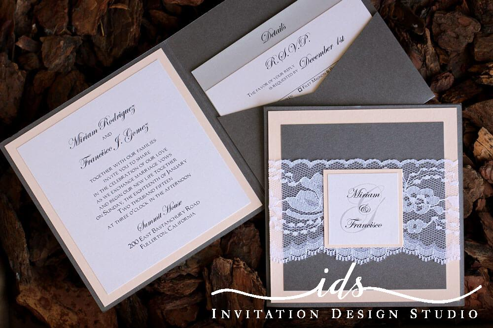 Pocket Folds (square) Custom Wedding Invitation